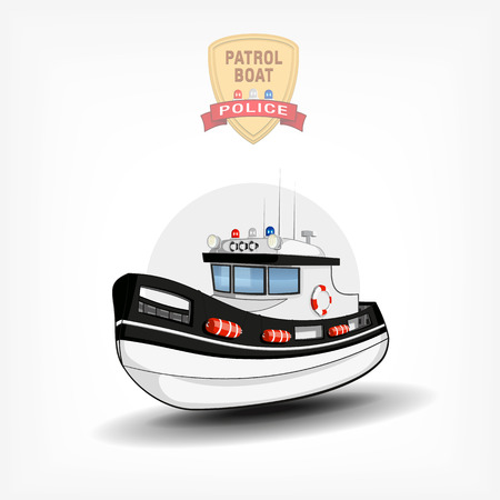 guard ship: Vector color hand drawn illustration of a isolated police boat.