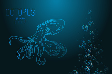 Octopus in deep Template for logo Illustration