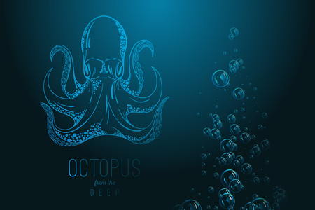 black octopus: Octopus in deep Template for logo Illustration
