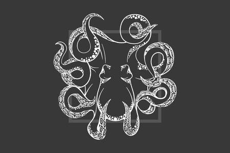 Octopus in deep Template for logo Иллюстрация