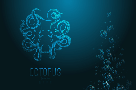 Octopus in deep Template for logo Ilustrace