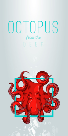 black octopus: Octopus in deep Vector color illustration on gradient background with decorative element.