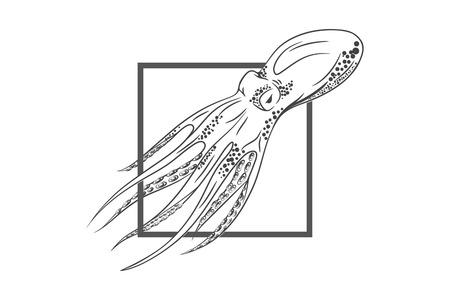 Octopus In Deep Template For Logo, Label And Emblem With Octopus ...