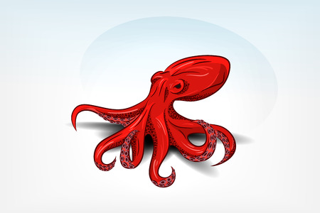 Isolated orange octopus with shadow.  向量圖像