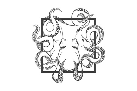 pulpo: Pulpo en profundidad de plantilla para el logotipo, emblema de la etiqueta y con la silueta del pulpo Vectores
