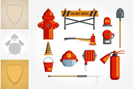 カラフルなビンテージ フラット アイコン セットやインフォ グラフィックのイラスト。消防士やボランティアのための機器。