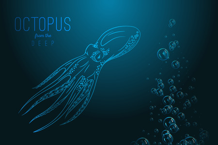 black octopus: Octopus in deep Template for logo, label and emblem with octopus silhouette.