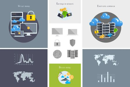 virtual world: Flat modern design vector illustration and icon. Concept electronic commerce. Bitcoin mining. Cloud technology. Virtual money. Infographic Element. Network Earnings. Digital World map, graph, diagram.
