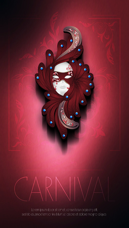 CARNAVAL: Vector illustration couleur sur fond dégradé avec des éléments décoratifs floraux. Carnaval, masque de carnaval, festival. Modèle affiche, flyer, invitation à la fête, impression.