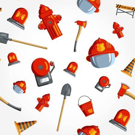 Fireman: Color vector seamless pattern firefighter equipment. Flat icon background.