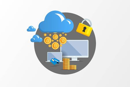 electronic elements: Isolated flat color vector illustration on light background. Visualization concept electronic commerce, mining Bitcoin. Cloud technology. Virtual money. Elements for infographics. Earnings in network. Illustration