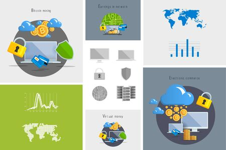 Flat modern design vector illustration and icon. Concept electronic commerce. Bitcoin mining. Cloud technology. Virtual money. Infographic Element. Network Earnings. Digital World map, graph, diagram.