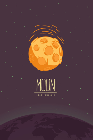 Full moon. Colored vector illustration or symbol with lettering. Template for logotype. Flyer, poster