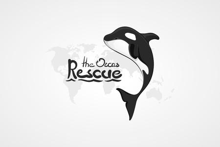 Orca. Concepto del vector dibujado a mano ilustración, logo. Diseño del icono simple con el texto. arte del bosquejo. Diseño plano. Letras