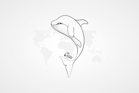 orca: Whale Orca. Concept vector hand drawn illustration, logo. Design of simple icon with text. Sketch art. Flat design