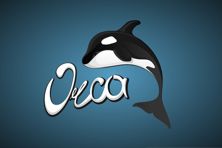 orca: Whale Orca. Concept vector hand drawn illustration, logo. Design of simple icon with text. Sketch art. Flat design. Lettering