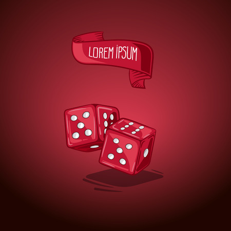 Vector illustration two dice. Symbol of gambling and luck. Game in casino. Handdrawing symbol