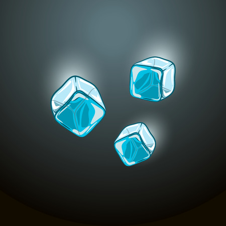 refrigerate: vector illustration of falling ice cubes on a dark blue background