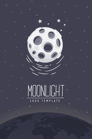 lucero: Full moon. Colored vector illustration or symbol with lettering. Template for logotype. Flyer, poster Vectores