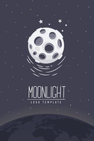lucero: Luna llena. ilustración vectorial de color o símbolo con letras. Plantilla para el logotipo. Folleto, cartel