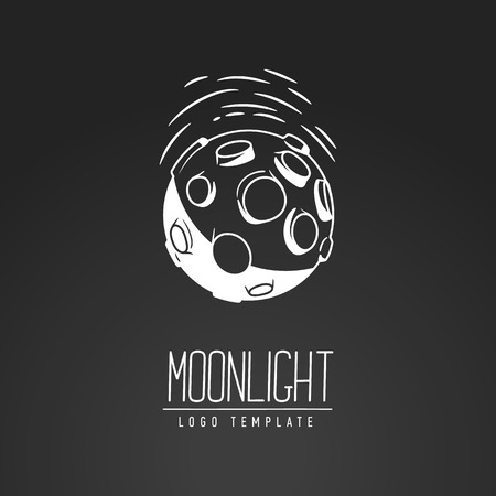 luna: Cosmic thin line vector illustration. Moon, space, light. Concept - the lunar surface. Template logo. Hand drawing symbol.