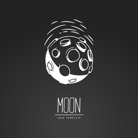 dipole: Cosmic thin line vector illustration. Moon, space, light. Concept - the lunar surface. Template logo. Hand drawing symbol.