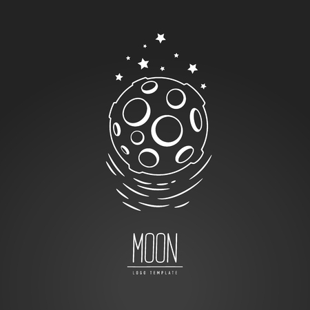 meteor crater: Cosmic thin line vector illustration. Moon, space, light. Concept - the lunar surface. Template logo. Hand drawing symbol.