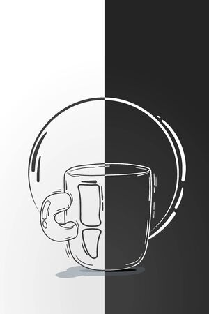 patch of light: vector illustration cup coffee or tea. doodle, cartoon, sketch style. concept for restaurant menu, morning. composition of one object and background
