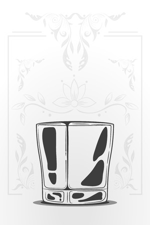 scotch whisky: whiskey glass. vector hand drawn illustration in cartoon style. Negative space concept.  Decorative organic ornament on background Illustration