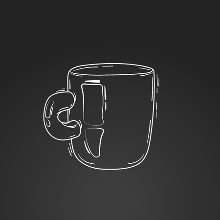 one object: vector illustration cup coffee or tea. light background, pink circle. doodle, cartoon, sketch style. concept for restaurant menu, morning. composition of one object and background
