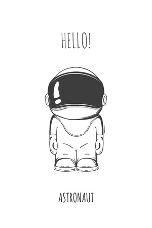 Hand drawn cartoon astronaut in space suit. One died. Line art cosmic vector illustration cosmonaut who stand alone. Concept hello world