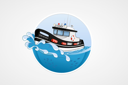 Moving speed police boat. Deep sea with wave. Round vector computer icons for applications or games. Logo template. Handdrawn Illustration