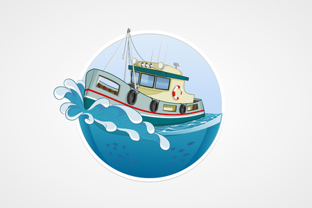 Moving fishing boat. Deep sea with wave. Round vector computer icons for applications or games. Logo and emblem template. Handdrawn Illustration Ilustracja