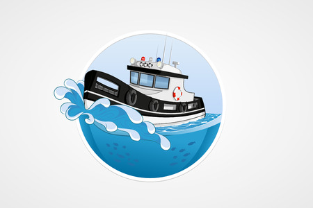 lifeboat: Moving speed police boat. Deep sea with wave. Round vector computer icons for applications or games. Logo template. Handdrawn Illustration