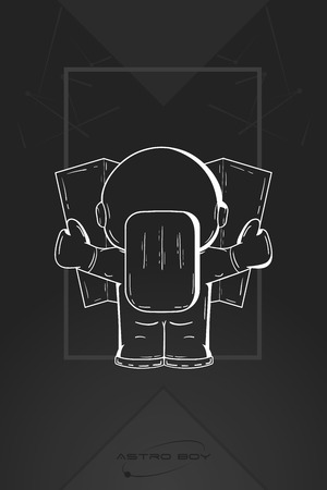 spaceflight: Hand drawn cartoon astronaut in spacesuit back view. Line art cosmic vector illustration astronaut look at the map, looking for something. Concept space travel, spaceflight, navigation on terrain