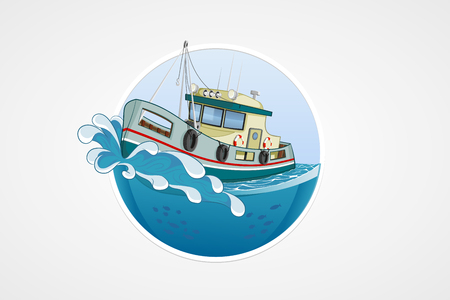 hull: Moving fishing boat. Deep sea with wave. Round vector computer icons for applications or games. Logo and emblem template. Handdrawn Illustration Illustration