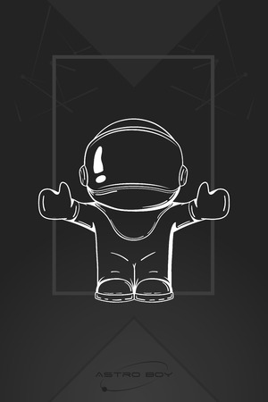 friendliness: Vector hand drawn illustration of astronaut. Design concept. Free hugs. Greeting. Embrace. Cute trendy character.