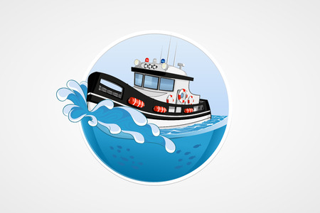 deep sea: Moving speed police boat. Deep sea with wave. Round vector computer icons for applications or games. Logo template. Handdrawn Illustration
