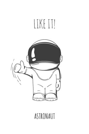 spaceflight: Hand drawn astronaut in spacesuit. Line art cosmic vector illustration. Thumbs up. Like