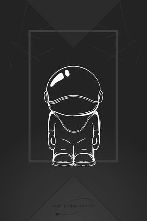 outer clothing: Hand drawn cartoon astronaut in space suit. One died. Line art cosmic vector illustration cosmonaut who stand alone. Concept hello world