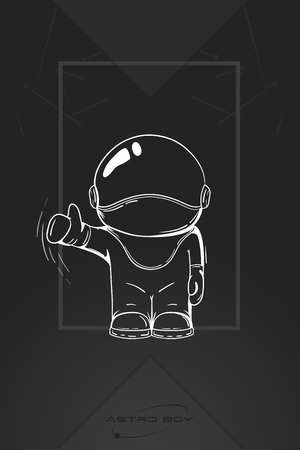 spacesuit: Hand drawn astronaut in spacesuit. Line art cosmic vector illustration. Thumbs up. Like