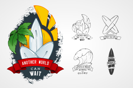 hawaiian: Set of vector patterns for design logos on theme of water, surfing, ocean, sea, palm, ribbon, wave, surfbord. Stylized Design element with lettering. Illustration