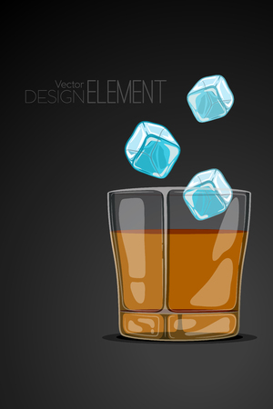 glassful: Glass of whiskey on abstract black background with flying ice cubes. Strict artsy style. Colored cartoon illustration. Template concept for the menu or invitation. Design element Illustration