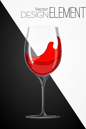 artsy: glass with red wine on abstract black and white background. Strict artsy style. Colored cartoon illustration. Template concept for the menu or invitation. Design element Illustration