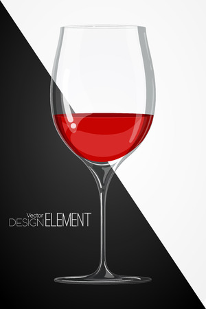 glass with red wine on abstract black and white background. Strict artsy style. Colored cartoon illustration. Template concept for the menu or invitation. Design element