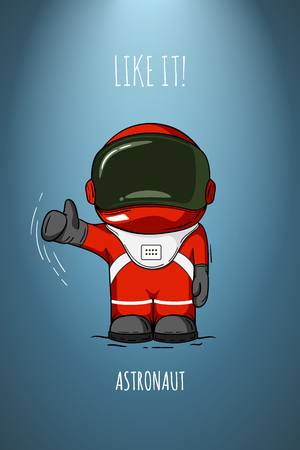 spacesuit: astronaut in spacesuit. Line art cosmic illustration. Thumbs up. Like