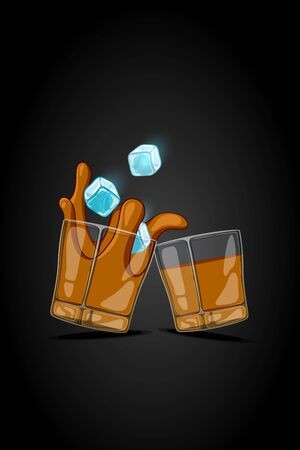 glassful: cartoon illustration drawn glass with alcohol drink with ice cubes falling and splash liquid.