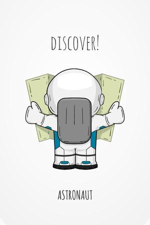 Cartoon-Astronaut in Sicht Spacesuit zurück. Line art kosmische Illustration Kosmonaut Blick auf die Karte, nach etwas zu suchen. Konzept Raumfahrt, Raumfahrt, Schifffahrt auf Gelände Vektorgrafik