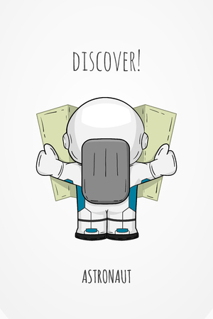 cartoon astronaut in spacesuit back view. Line art cosmic illustration cosmonaut look at the map, looking for something. Concept space travel, spaceflight, navigation on terrain