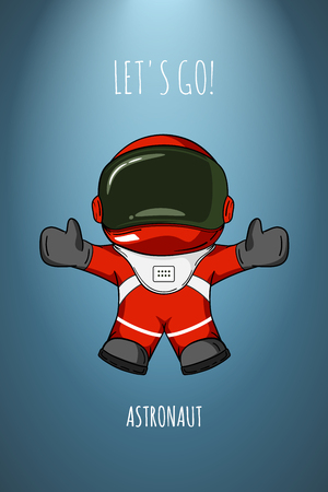 to gravity: cartoon illustration astronaut in spacesuit who drop and flies. Concept zero gravity, travel